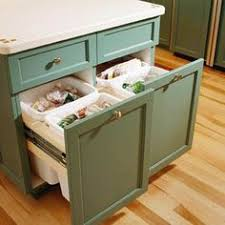 Kitchen Island With Trash Bin Mobile Kitchen Island Trash Bin W 3 Shelf Pantry Home Owners
