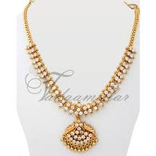 gold tonned necklace traditional india white jewelry ornament