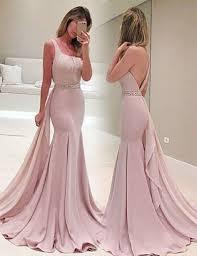 blush mermaid one shoulder sleeveless sweep train backless prom