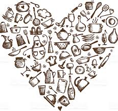 i love cooking kitchen utensils sketch heart shape stock vector