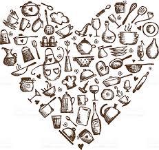 i love cooking kitchen utensils sketch heart shape stock vector kitchen utensils sketch heart shape royalty free stock vector art