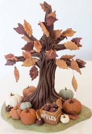 fall autumn inspired fondant tree cake topper by seasonablyadorned