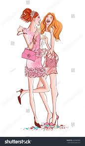 two girls cocktail party laughing vector stock vector 422969980