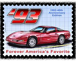 corvette poster 1993 40th anniversary edition corvette poster by k teeters