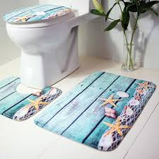 bathroom mat and toilet cover set in 3 ocean sea theme patterns