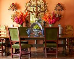 Mexican Dining Room Furniture by Mexican Dining Room With Floral Vases And Lower Chandelier And