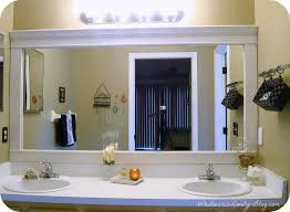 Large Bathroom Mirror With Lights How To Frame A Bathroom Mirror Battey Spunch Decor