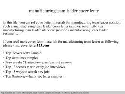 Resume For Manufacturing Sample Resume Team Leader Manufacturing Team Leader Cover Letter