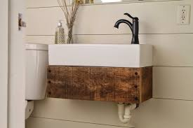 diy floating reclaimed wood vanity with ikea sink meets