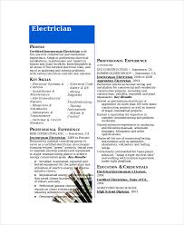 Electrician Resume Samples by Electrician Resume Template 5 Free Word Excel Pdf Documents