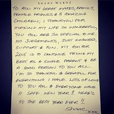 shane warne pens letter spelling out hopes for 2015 daily mail