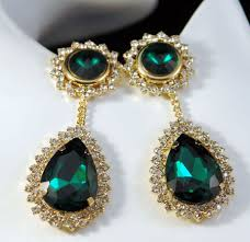 emerald green earrings large emerald green drop earrings