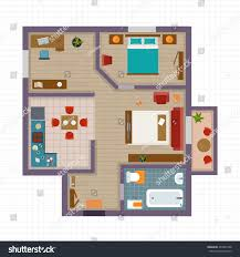 detailed apartment furniture overhead top view stock vector
