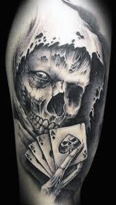 76 crazy skull tattoos designs playing card tattoos card tattoo