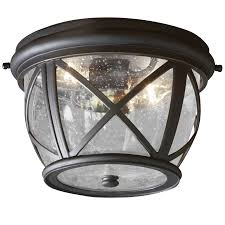 allen roth castine 10 9 in w rubbed bronze outdoor flush mount light