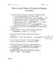 worksheet physical and chemical changes name plain local