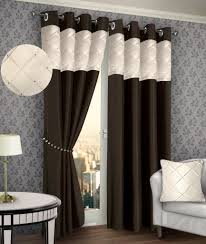 Curtains Ring Top Ring Top Eyelet Lined Pintuck Curtain Faux Silk Brown Colour