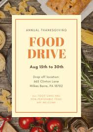 orange brown rustic photo food drive flyer templates by canva