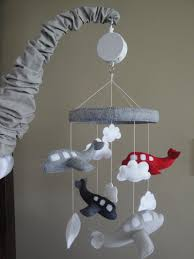 baby crib mobile airplane baby mobile grey and by lovealldesigns