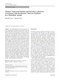 mothers u0027 expressed emotion and narrative coherence associations