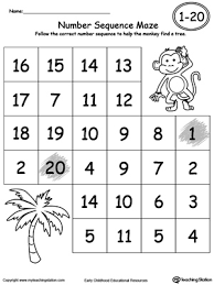 practice number sequence with number maze 1 20 printable