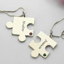 Name Necklaces Silver Puzzle Necklace For Couples Love Necklaces Silver