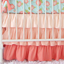 Coral Bedspread Coral Ruffle Bed Skirt Crib Skirts Baby Bedding And Nursery