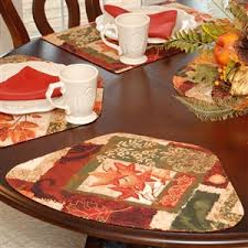 quilted placemats for round tables wedge placemats fall patchwork leaf print wedge shaped round table
