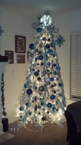 silver treements blue and silverstmas