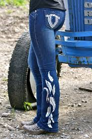 dynasty equine denim jeans with silver feathers 55 00 http