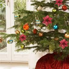 10pcs xmas artificial glitter flower christmas tree ornament