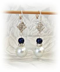 navy blue earrings bridal earrings navy blue and white pearl and dangle