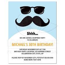 incognito mustache and sunglasses surprise birthday party invitation