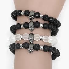 black bead skull bracelet images Black beads natural stones skull bracelet for women lava stone jpg
