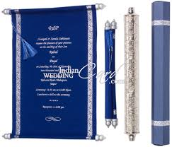 fabric scrolls invitations indian wedding card