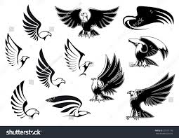 eagle silhouettes showing flying standing birds stock vector