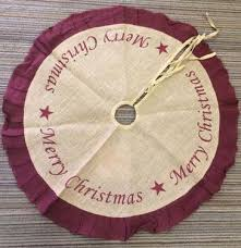 36in burlap tree skirt burgundy merry tree toppers