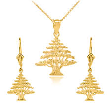 gold necklace earring sets images Yellow gold lebanese cedar tree necklace earring set jpg