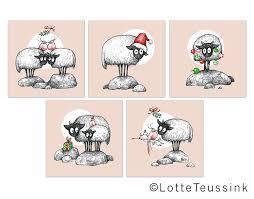 christmas cards set of 5 xmas sheep illustrations connemara