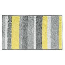 Gray And Yellow Kitchen Rugs Interdesign Microfiber Stripz Bathroom Shower Accent