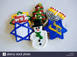 chanukah cookies christmas and chanukah cookies decoration stock photo 16313583