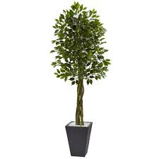 nearly indoor outdoor ficus artificial tree with slate