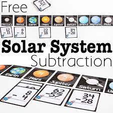 free printable solar system subtraction activity subtraction