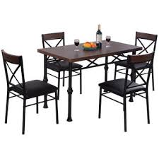 goplus 5 piece dining set table and 4 chairs wood metal kitchen