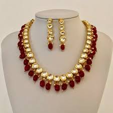 ruby necklace set images Ruby kundan indian necklace set devangi indian jewellery uk jpg