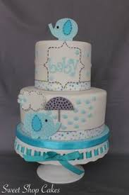 Tiffany Blue Baby Shower Cake - baby blue and gray elephant baby shower cake babyshowercake