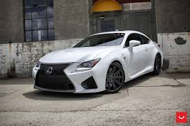 lexus coupe black white lexus rcf on vossen wheels has the look of a cult car