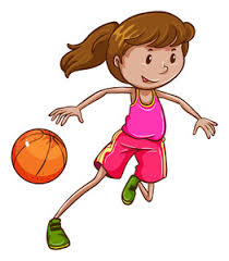 sketch of young boy playing basketball vector illustration