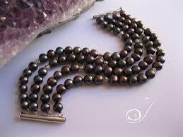 cuff bracelet black images Black pearl 4 stranded cuff pearl bracelets jpg