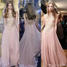 blush maxi dress blush chiffon elie saab evening dresses 2017 gold appliques lace